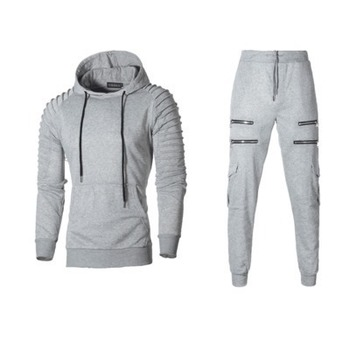 2018 Autumn New Men's Zipper Camouflage Sets Sweatpants and Hoodies Sets Male Casual Bodybuilding Fitness Tracksuit Sweatshirts Bullet Cheetah