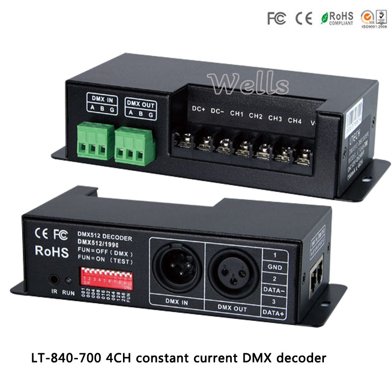 DMX-PWM 4CH constant current decoder;LT-840-700;DC12V-DC48V input;700mA CC*4CH led controller for rgbw led strip light lamp dmx512 digital display 24ch dmx address controller dc5v 24v each ch max 3a 8 groups rgb controller
