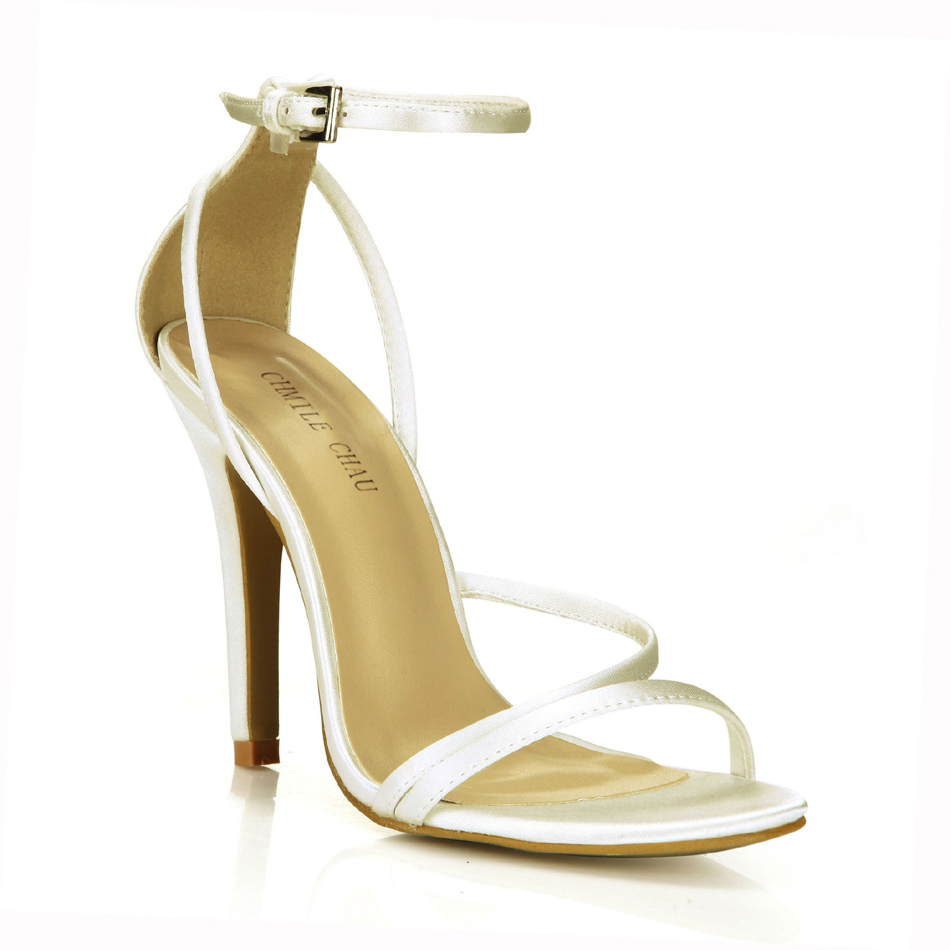 CHMILE CHAU Ivory Satin <font><b>Sexy</b></font> Wedding Bridal Party Women Shoe Stiletto High Heel Ankle Strap Buckle Sandals Plus Sizes <font><b>10</b></font> 5186-9d image
