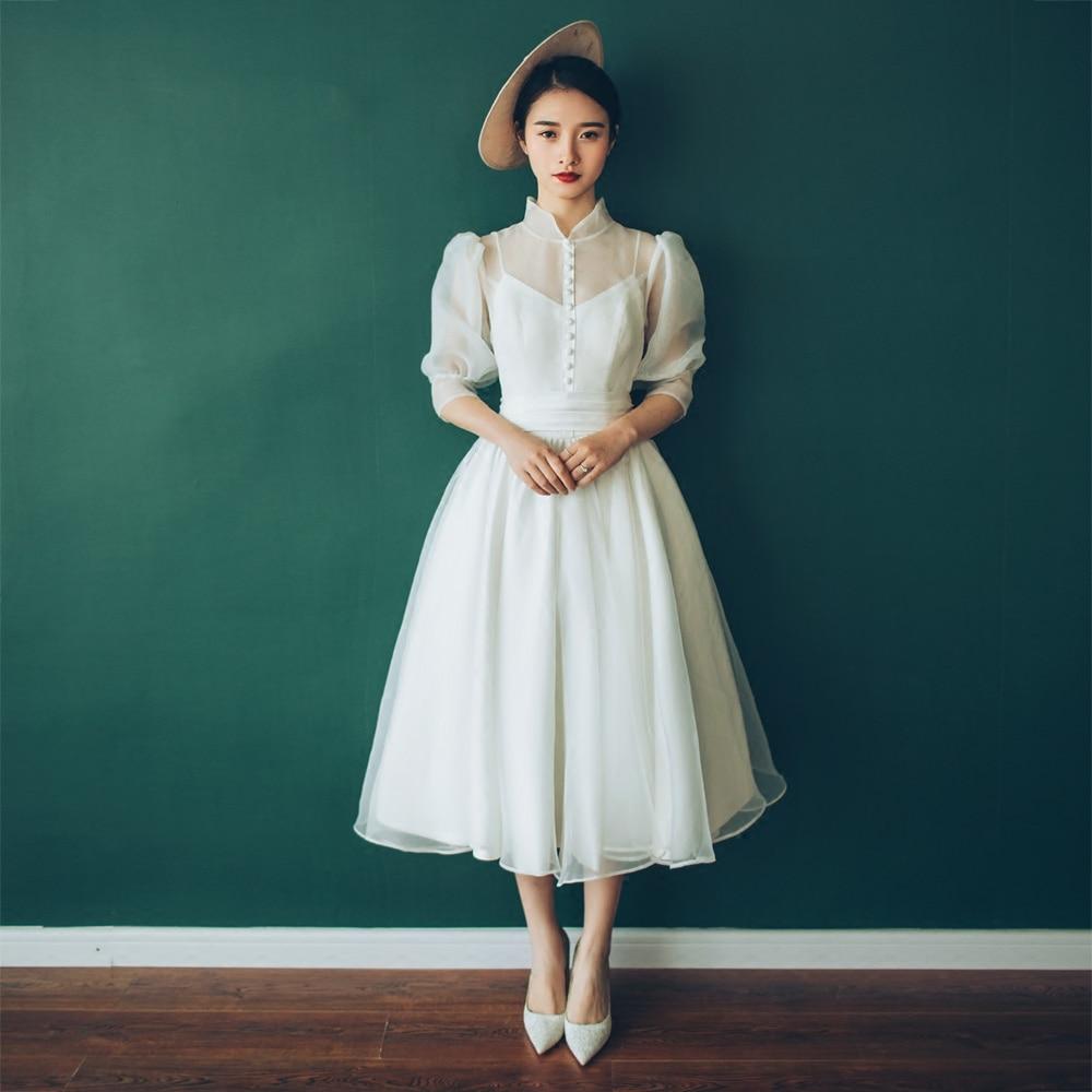 Charming Wedding Dress 2019 Real Photo Weddingdress Hepburn Vestido De Noiva Gown Formal Dress Satin Bridal