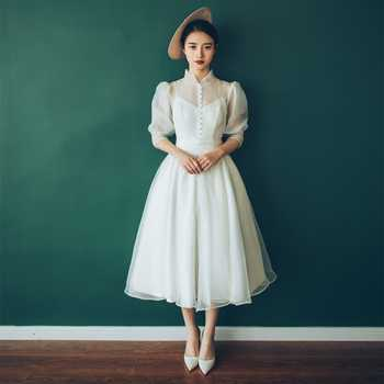 Charming Wedding Dress 2019 Real Photo Weddingdress Hepburn Vestido De Noiva Gown Formal Dress Satin Bridal Dress Travel Photo - Category 🛒 Weddings & Events