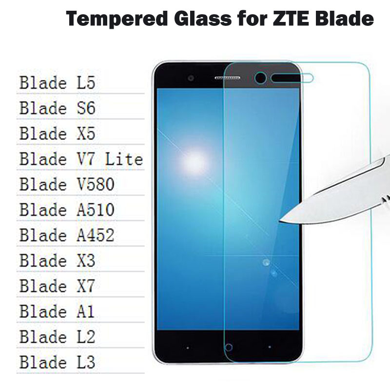 0.26mm Screen Protector HD Tempered Glass For ZTE Blade X3 X5 X7 A452 A510 A1 L5 V9 A530 L3 S6 A520 HD Toughened Protective Film
