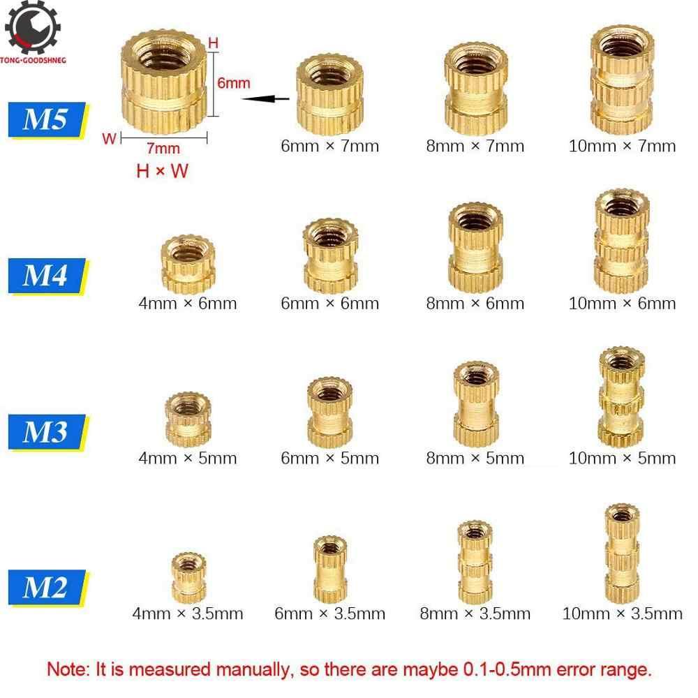 A linha fêmea de m2 m3 m4 m5 serrilhou a porca rosqueada bronze do embedment da inserção para a impressão 3d rosqueou inserções ajustadas do calor