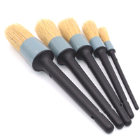 5PCS Car Accessory Wood Handle Car Detailing Brushes For Interior Dashboard Rims Wheel Air Conditioning Engine
