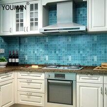 Bathroom wallpapers sticker PVC mosaic wallpaper kitchen waterproof tile stickers plastic vinyl self adhesive wall paper 45cmX5m недорого