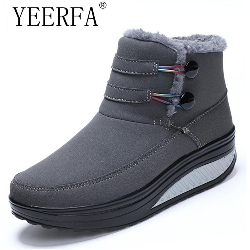 купить Female Plush Swing Shoes Snow Platform Boots Women Warm Winter Waterproof Thermal Cotton-padded Shoes Flat Ankle Boots онлайн
