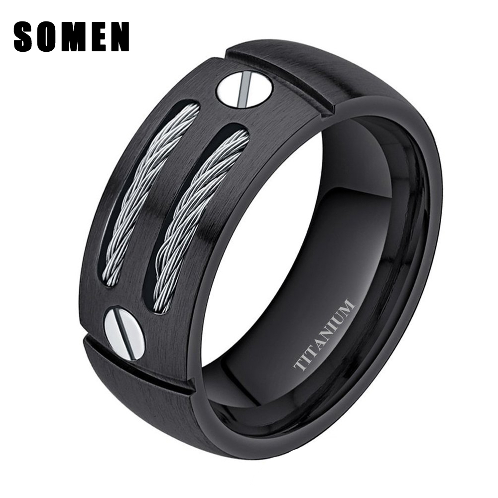 8mm Mens Silver Black Cable Screw Inlay Titanium Ring