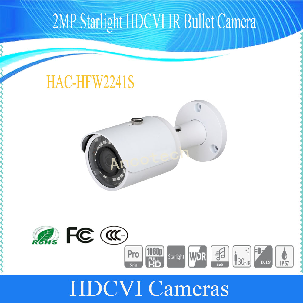 Free Shipping DAHUA Original English Security Camera CCTV 2MP Starlight HDCVI IR Bullet Camera IP67 without Logo HAC-HFW2241S free shipping dahua cctv camera 4k 8mp wdr ir mini bullet network camera ip67 with poe without logo ipc hfw4831e se