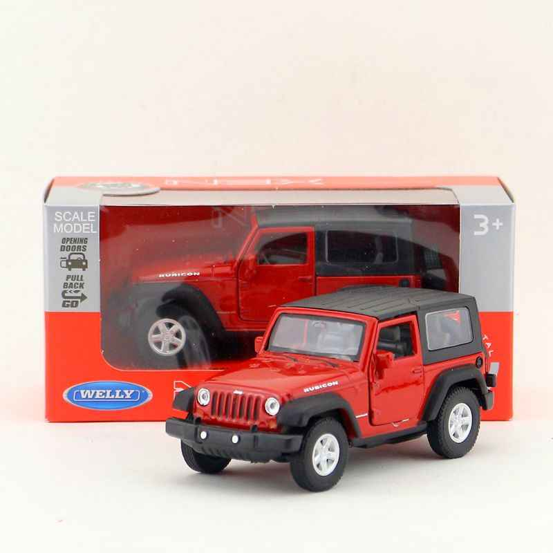 Brand New WELLY 1/36 Scale USA Jeep Wranler Ribcon SUV Diecast Metal Pull Back Car Model Toy For Gift/Kids/Collection
