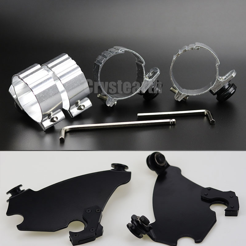 New 49mm Motorcycle Gauntlet Headlight Fairing Black Trigger Lock Mount Kit For Harley Dyna Street Bob /Super Glide /Low Rider black gauntlet headlight fairing w trigger lock mount kit for harley xl 1200 883 freeshipping d15