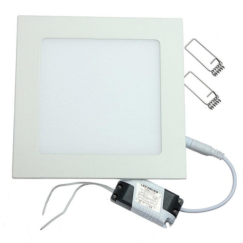 Lámpara empotrada de 25W panel de luz LED cuadrado para techo de baño o cocina AC85-265V luz empotrada LED blanco cálido/blanco frío envío gratis