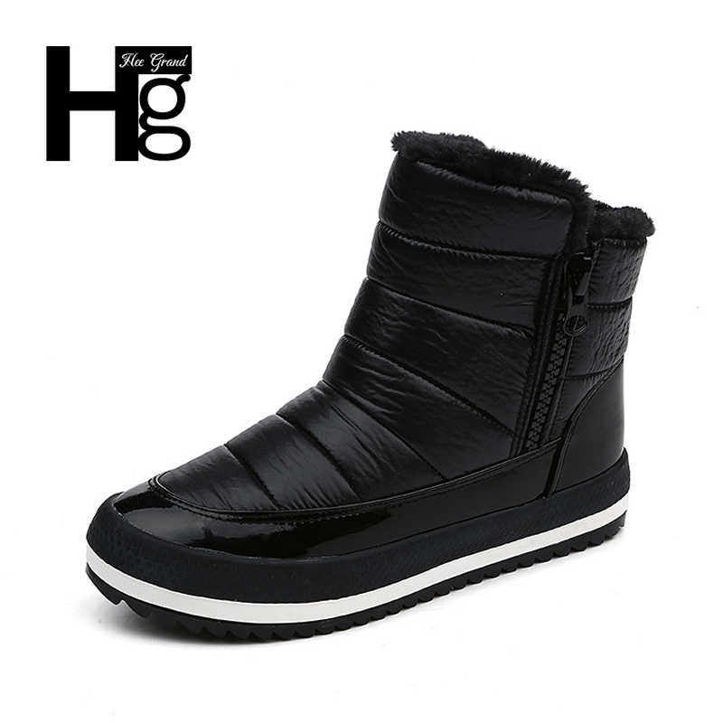 HEE GRAND Women Winter Ankle Boots Young  Flock Super Warm Snow Shoes Slip-on Black Casual Lady Boots Size 35-40 XWX6167
