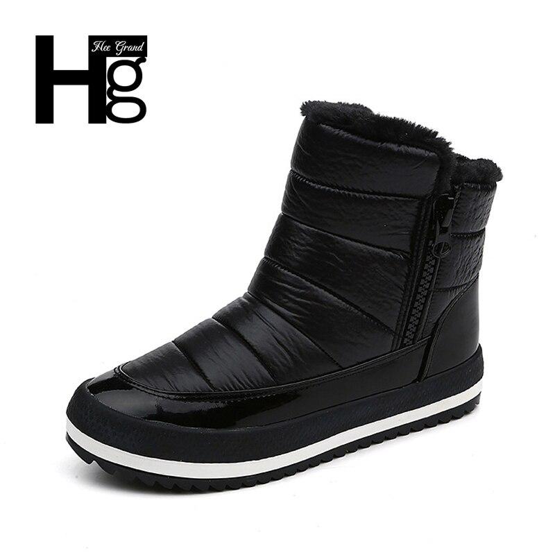 HEE GRAND Frauen Winter Stiefeletten Junges Flock Super Warm Schnee Schuhe Slip-on Schwarz Casual Dame Stiefel Größe 35-40 XWX6167