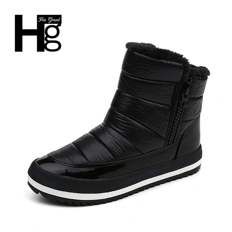 HEE GRAND Women Winter Ankle Boots Young Flock Super Warm Snow Shoes Slip-on Black Casual Lady Boots Size 35-40 XWX6167 xiu xian warm plush winter ankle boots for women slip on comfortable lady shoe 2017 new fashion casual young style handsome girl