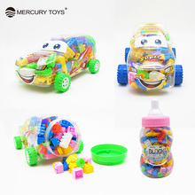 Canned Plastic Building Blocks Vehicles Bricks with Jar Engineering Car Educational Toys  Gift for Kids Children Colorful New