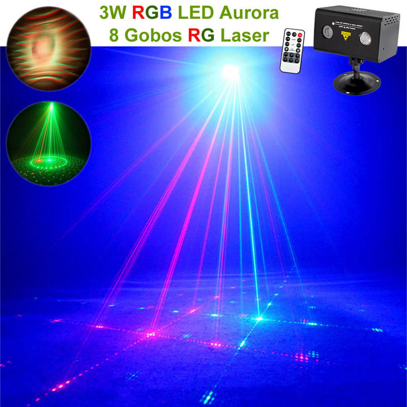 AUCD Remote 8 RG Pattern Laser Lighting Xmas Water Galaxy RGB LED Stage Light Projector Mix Aurora Effect Party DJ Home  LL-08RG 96 pattern 9w black led rgb projector