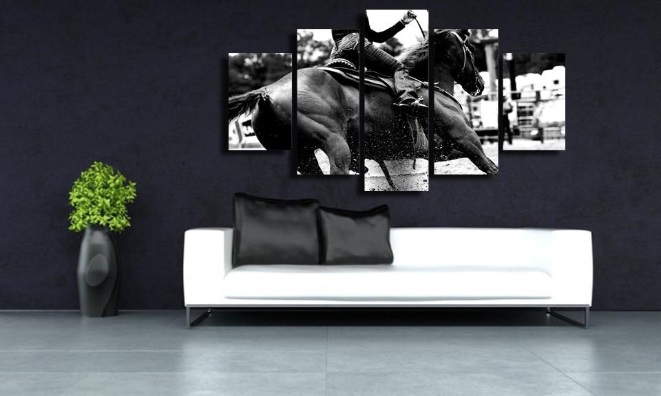 Black horse racing canvas wall art abstract print home ...