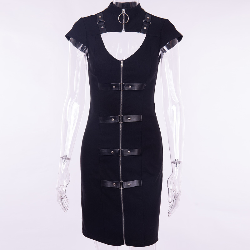 PU Leather Single Breasted Zipper Dresses Women Sexy Hollow Out Bandage Club Mini Gothic Dress Femme