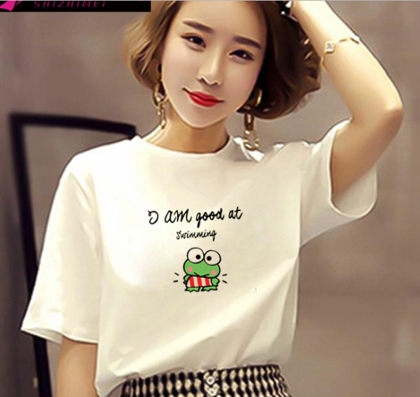 Printed Tops Short T-Shirt Women Clothing Cotton-Sleeve Harajuku Plus-Size Casual Summer