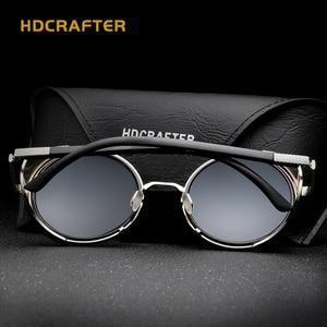 Image 5 - HDCRAFTER lunettes de soleil pour hommes et femmes, verres miroirs, style Steampunk, unisexe, Vintage, rétro