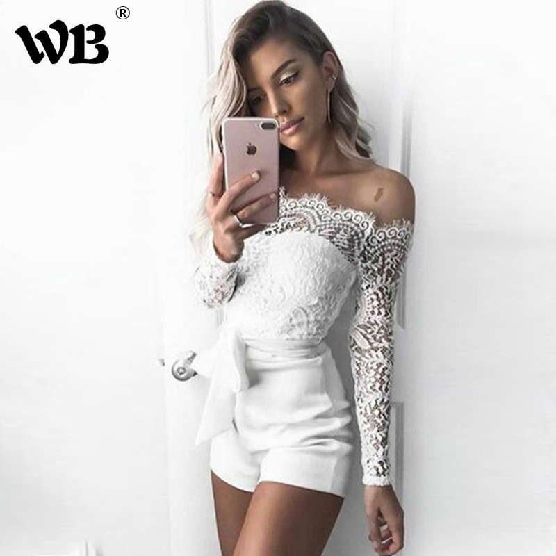 Women's Lace Strapless   Jumpsuit   Summer Bodycon Playsuit Clubwear Beach Party Short Romper Suit 2018 Sexy Mesh Overalls
