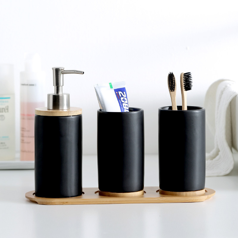 Creative Ceramic Glass Bathroom Bathroom Brush Cup Pillar Tray Bathroom Emulsion Container Shampoo Squeeze Container Set
