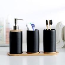 Creative Ceramic Glass Bathroom Brush Cup Pillar Tray Emulsion Container Shampoo Squeeze Set