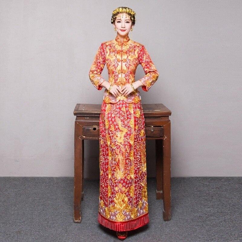 ჩინური ტრადიციული ნაქარგების კაბა Qipao Red Bride Vintage Wedding Wedding Cheongsam აღმოსავლური პარტიის კაბები Robe Chinoise Dragon Long