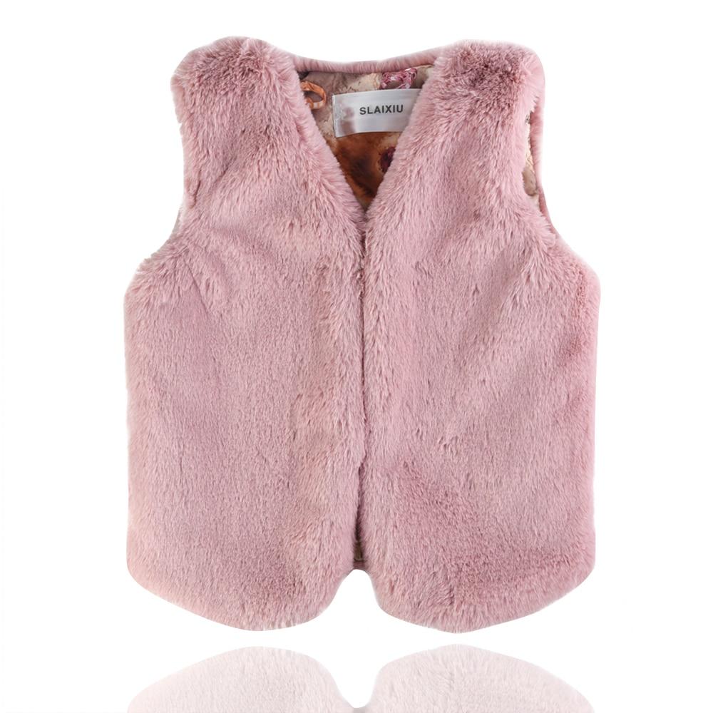 Faux Fur Coat Girls Vest Kids Waistcoats Baby Vests Colete infantil Childrens Sleeveless Jacket Outerwear Autumn&Winter Cloth
