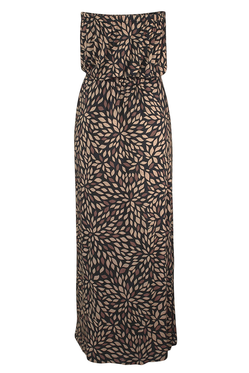 Black-Bohemian-Bandeau-Floral-Print-Maxi-Dress-LC611159-2-3