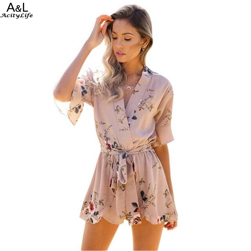 Belt Faux Wrap V-Neck Flare Sleeve Rompers Floral Print Playsuit with Women
