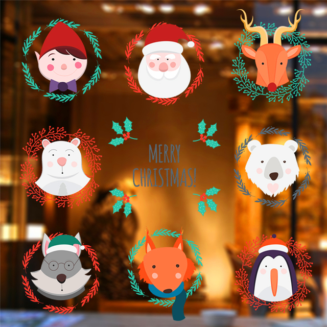new year gift santa claus elk bear fox penguin wall stickers for kids rooms cartoon animal