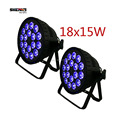 (2pcs) LED Par 18x15W RGBWA 5in1 for Party KTV Disco Birthday with DMX512,Auto Run,Sound action,Strobe,Master/Slave