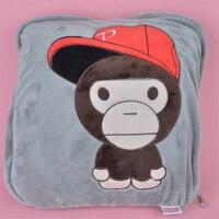 2 in 1 Multi function Red Cap Monkey Plush Cushion, Kids Child Plush Blanket Pillow Gift Free Shipping