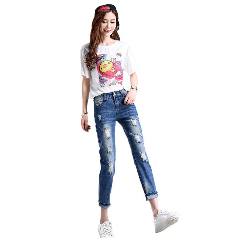 Harem pants Women Loose jeans 2017 Autumn Plus Size Jeans Regular Casual Calf-length Wide Leg Retro Capris Holes Womens Jeans B6