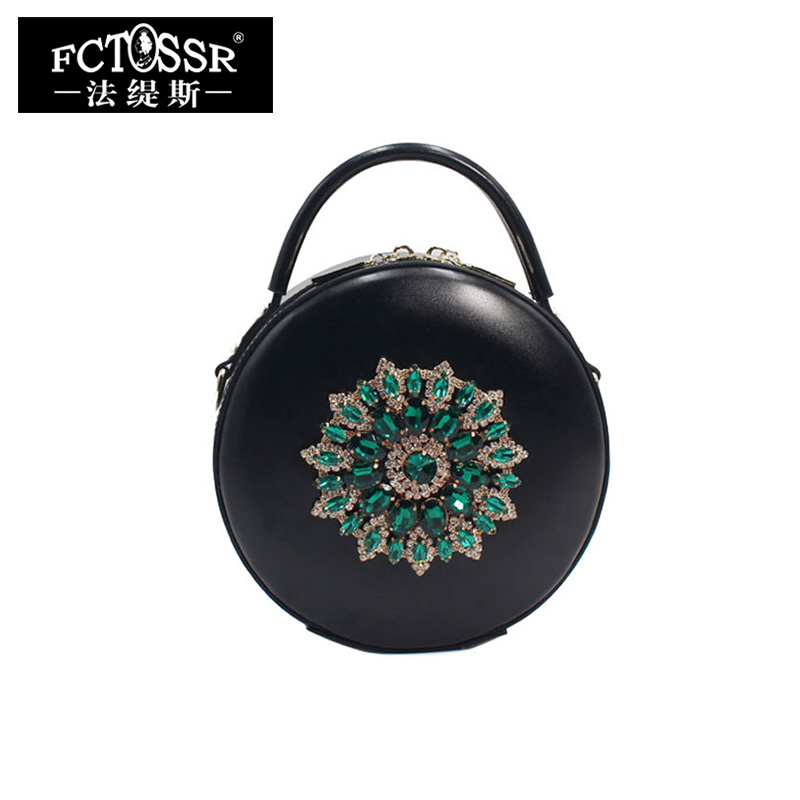 Fashion Messenger Bags Women Handbags 2018 Shoulder Sling Bag Genuine Leather Luxury Diamonds Lady Handbag Round Crossbody Bag fashion tassel genuine leather women messenger bags crossbody bag real leather shoulder bag women handbag fringe sling bag black
