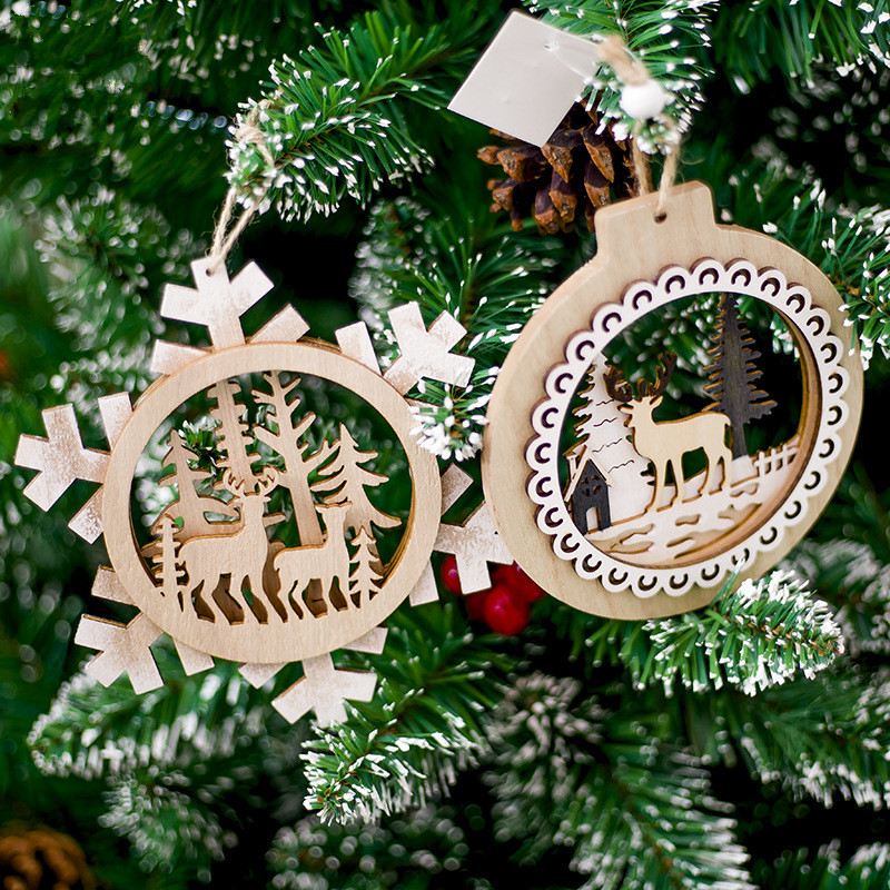 1pc Christmas Tree Ornament Wooden Santa Claus Snowflake Hanging Pendant Xmas New Year 2019 Decor Christmas Decoration for Home 1