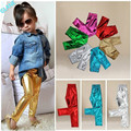 2016 Children Baby Kids Girls Shiny Coated Solid Skinny Leggings Pants Trousers 1~9Y girls leggings leggings girl girls pants