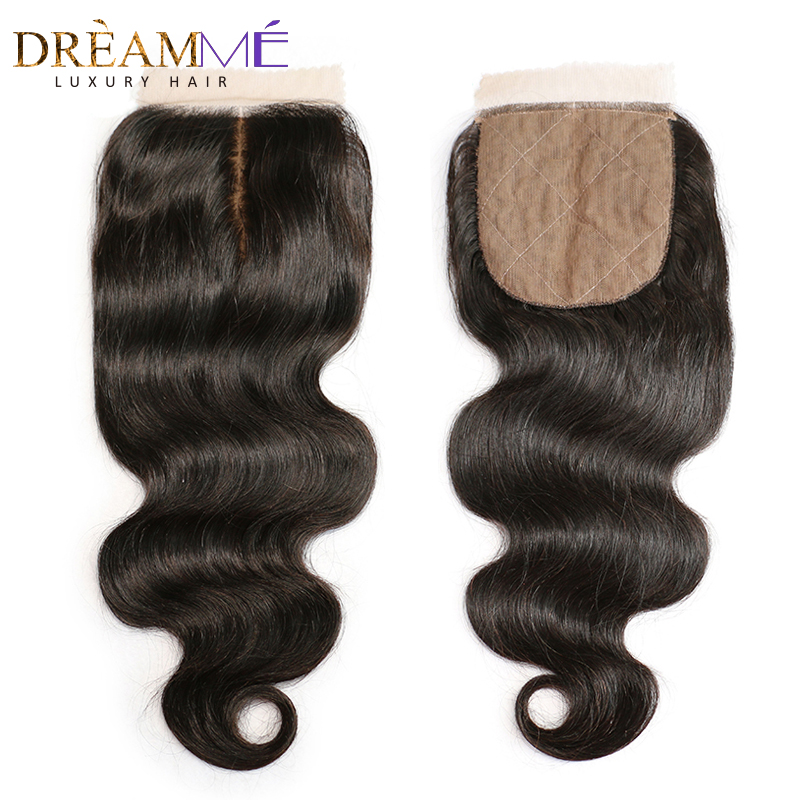 Brazilian Body Wave Silk Base Closure Silk Top Closure With Baby Hair Hidden Knots Human Hair Closure Dreamme Remy  Hair