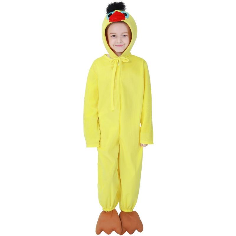 Kids Girl Boy Yellow Bird Chick Costume Animal Cosplay Pajamas Sleeping Pyjamas Halloween Cos Dress for School Stage Performance
