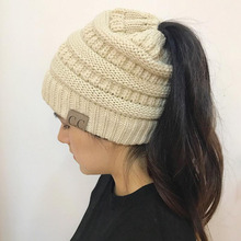 b9435bcbd9b CC Ponytail Beanie Winter Hats For Women Crochet Knit Cap Skullies Beanies  Warm Caps Female Knitted