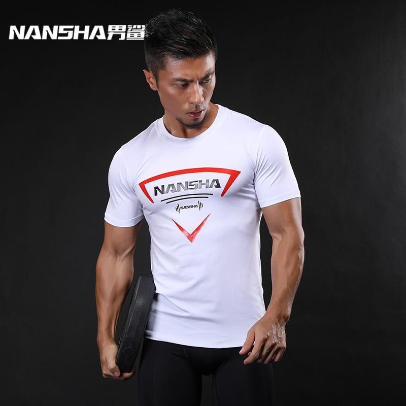 NANSHA Marca para hombre de manga corta camiseta culturismo Fitness Tops Ropa Joggingrunning Camisa de compresión Sporting Tops apretado