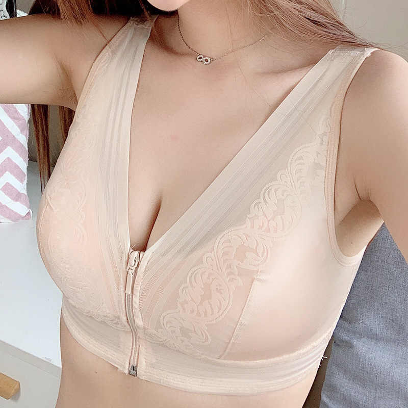 Active Bra Minimizer Zipper Front Closure Vest Underwear Thin Cup B C Wireless Large Size Wide Strap Freedom Bra for Women