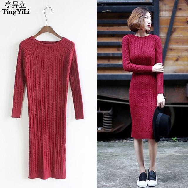 Vestido rojo midi manga larga