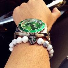 2016 atolyewolf hombres pulseras micro pave cz ojo verde lobo charm bracelet pulseras europeo blanco natural agata cuentas joyería