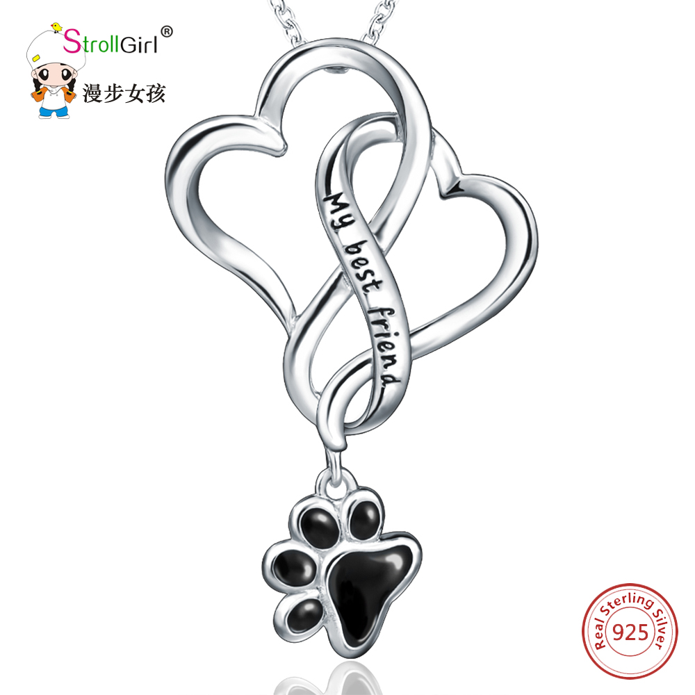 StrollGIRL 925 Sterling Silver Chain Pendant Necklace Fashion Jewelry Dog Paw with Love Heart Necklaces & Pendants For Women fashion custom lettering 925 silver love heart shaped couple necklace peach heart pendants for men and women yp3196