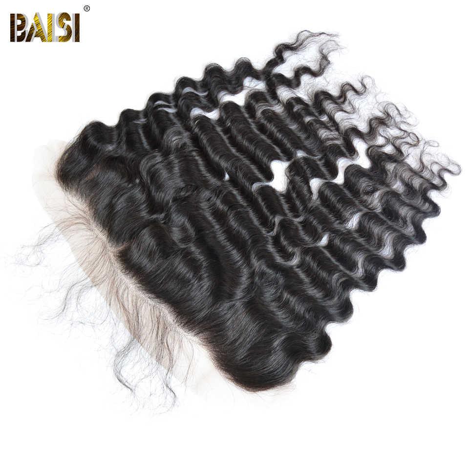 Cabello BAISI brasileño onda Natural 8A cabello virgen tejido 3 paquetes con 13x4 encaje Frontal 100% cabello humano