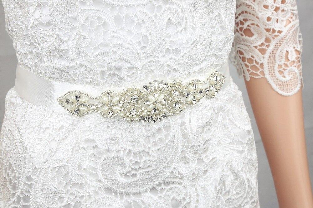Hechos a mano cristalino blanco boda Rhinestone de la perla de los ...