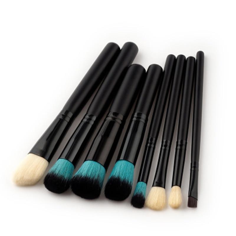 Black Round Makeup Brushes Sets Beauty Essentials Powder Eyeshadow Foundation Loose Brush Makeup Tools Brush Kit Cosmetic Set bob cosmetic makeup powder w puff mirror ivory white 02