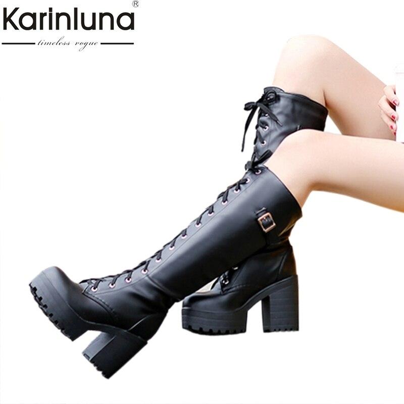KarinLuna 2018 grandes tamaños, 34-43, calle estilo fresco de la rodilla botas de plataforma de mujer de invierno de las mujeres zapatos de bota de nieve para mujer
